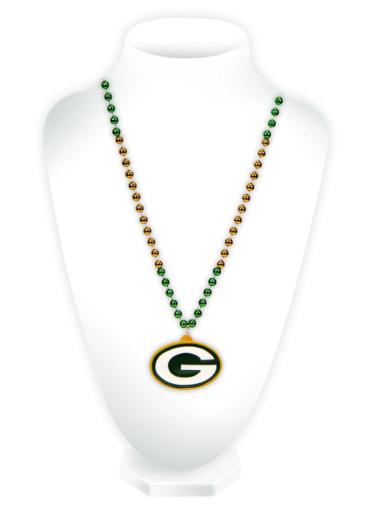 Green Bay Packers Mardi Gras Beads with Medallion