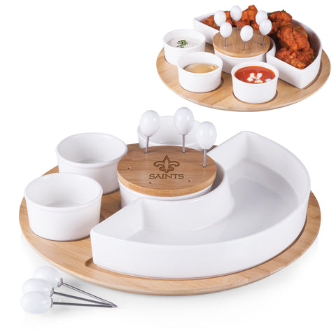 New Orleans Saints 'Symphony' Appetizer Serving Set-Bamboo Laser Engraving