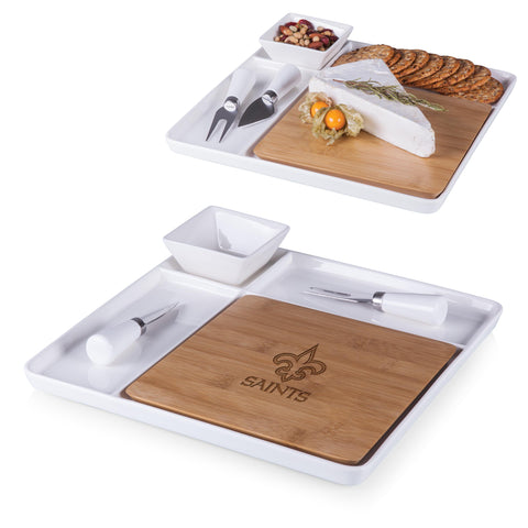 New Orleans Saints 'Peninsula' Cutting Board & Serving Tray-Bamboo Laser Engraving