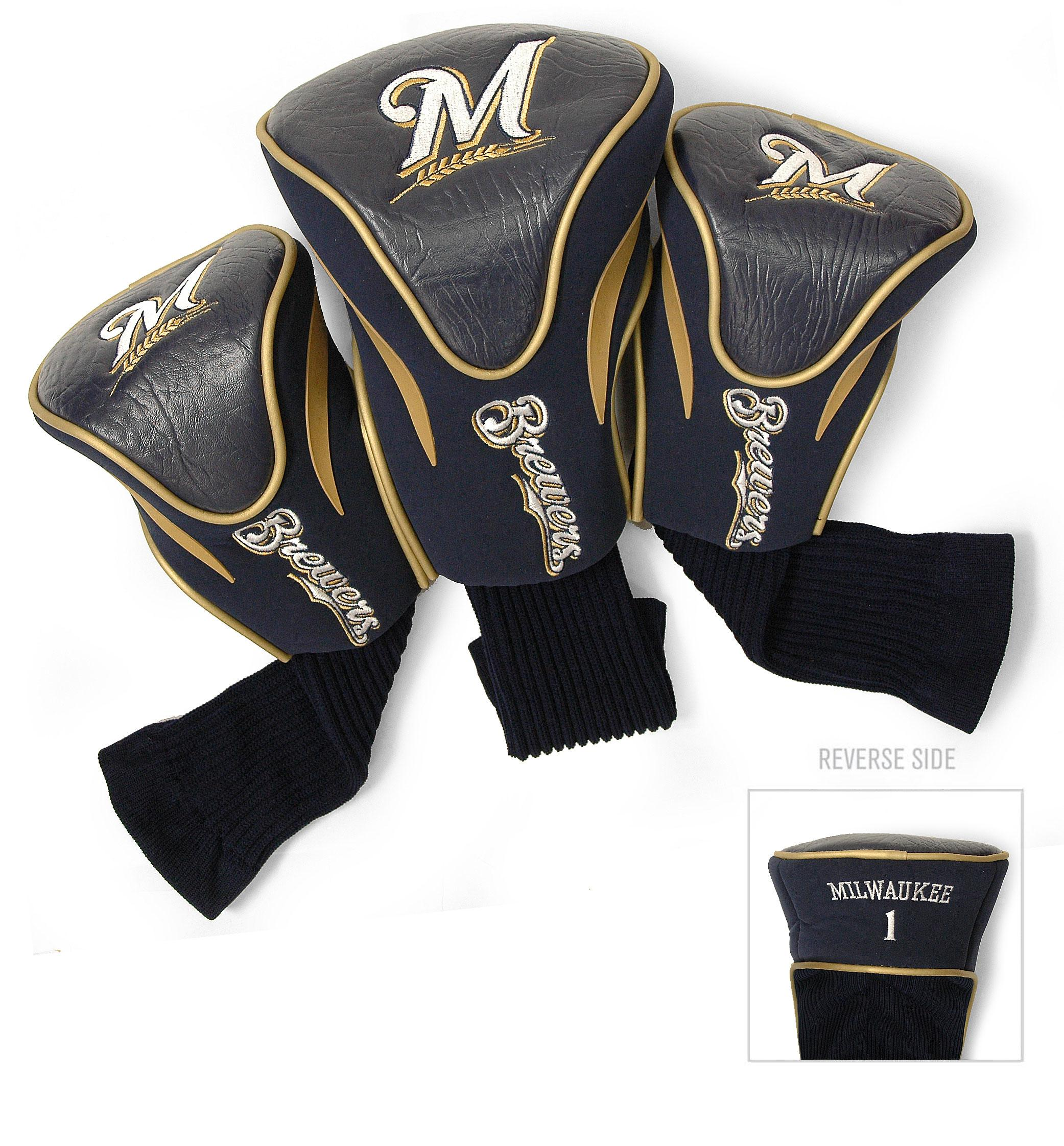 Milwaukee Brewers 3 Pack Contour Head Covers