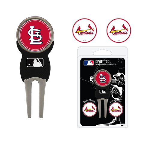 St Louis Cardinals Divot Tool Pack With 3 Golf Ball Markers