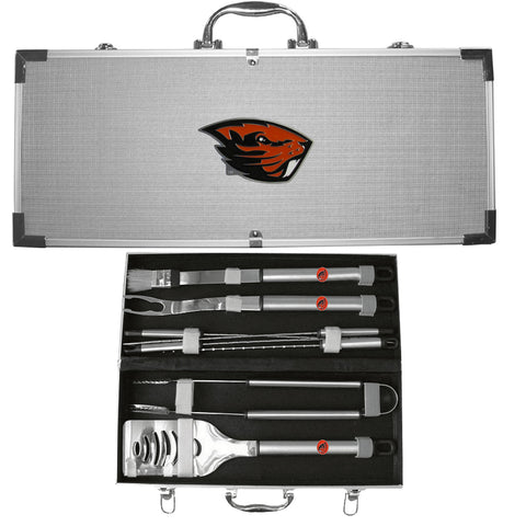 Oregon St. Beavers 8 pc BBQ Set - Stainless Steel w/Metal Case