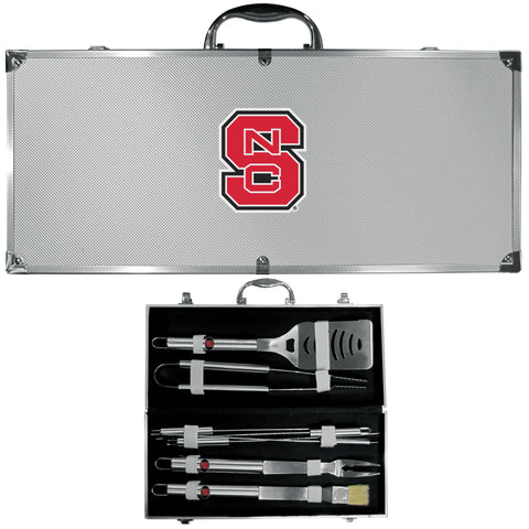 N. Carolina St. Wolfpack 8 pc BBQ Set - Stainless Steel w/Metal Case