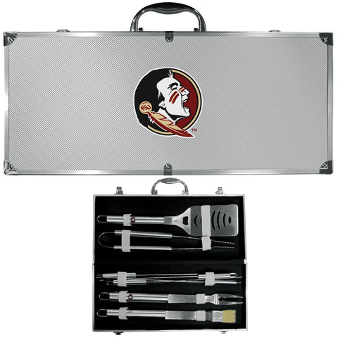 Florida St. Seminoles 8 pc BBQ Set - Stainless Steel w/Metal Case