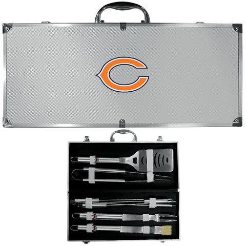 Chicago Bears 8 pc BBQ Set - Stainless Steel w/Metal Case