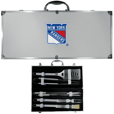 New York Rangers   8 pc Stainless Steel BBQ Set w/Metal Case