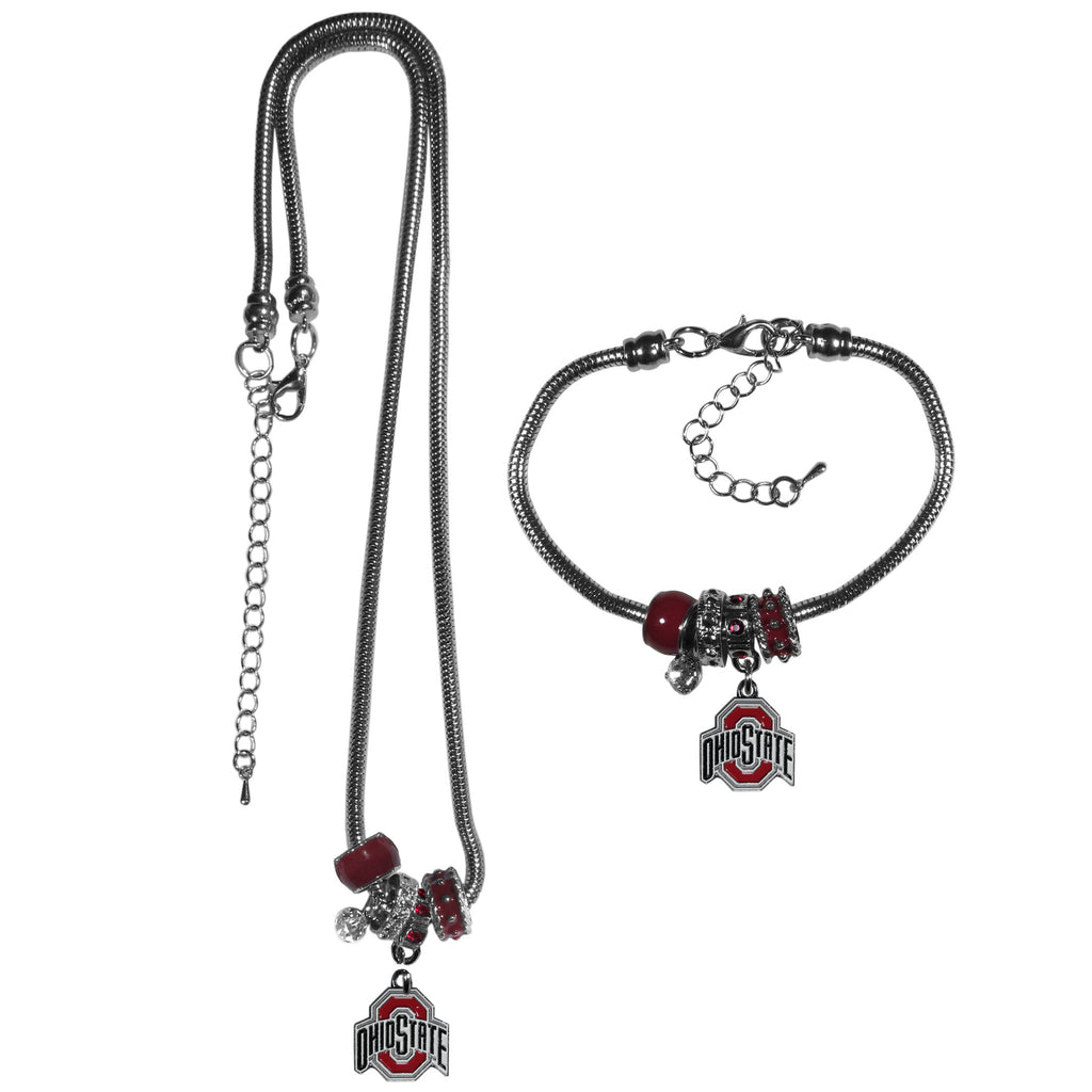 Ohio St. Buckeyes Euro Bead Necklace and Bracelet Set
