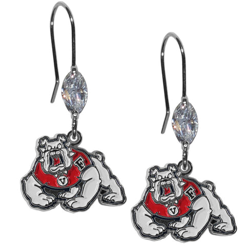 Fresno St. Bulldogs Crystal Dangle Earrings