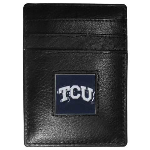 TCU Horned Frogs   Leather Money Clip/Cardholder Packaged in Gift Box