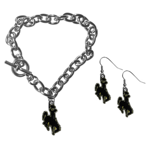 Wyoming Cowboy Chain Bracelet and Dangle Earring Set