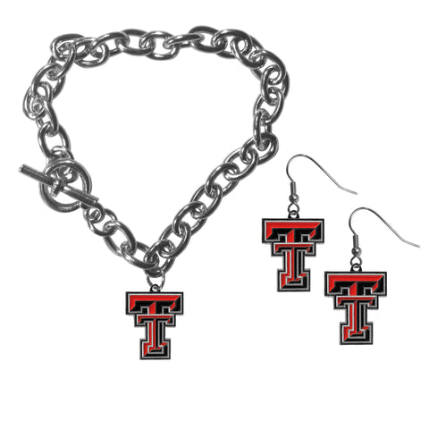 Texas Tech Raiders Chain Bracelet and Dangle Earring Set