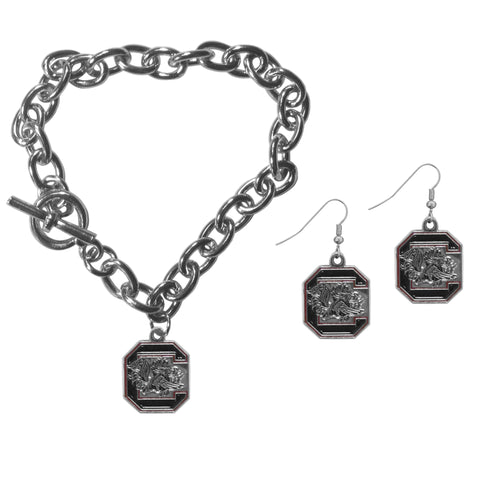 S. Carolina Gamecocks Chain Bracelet and Dangle Earring Set