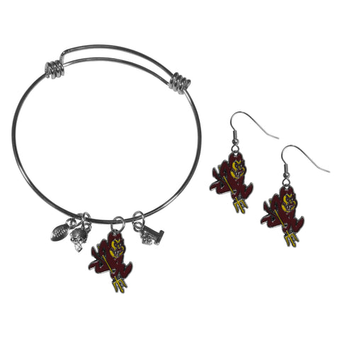 Arizona St. Sun Devils Dangle Earrings and Charm Bangle Bracelet Set