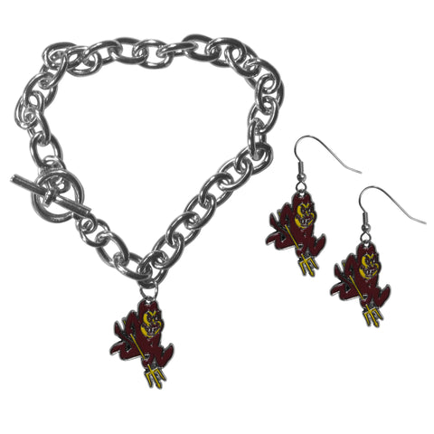 Arizona St. Sun Devils Chain Bracelet and Dangle Earring Set