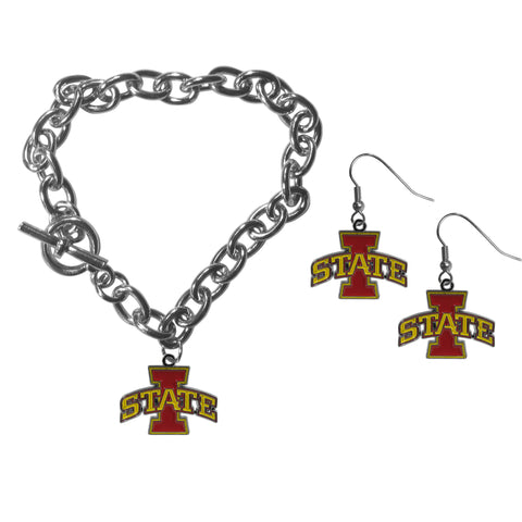 Iowa St. Cyclones Chain Bracelet and Dangle Earring Set