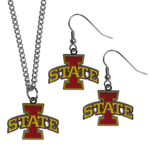 Iowa St. Cyclones Dangle Earrings and Chain Necklace Set