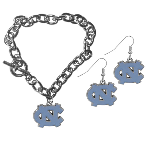 N. Carolina Tar Heels Chain Bracelet and Dangle Earring Set