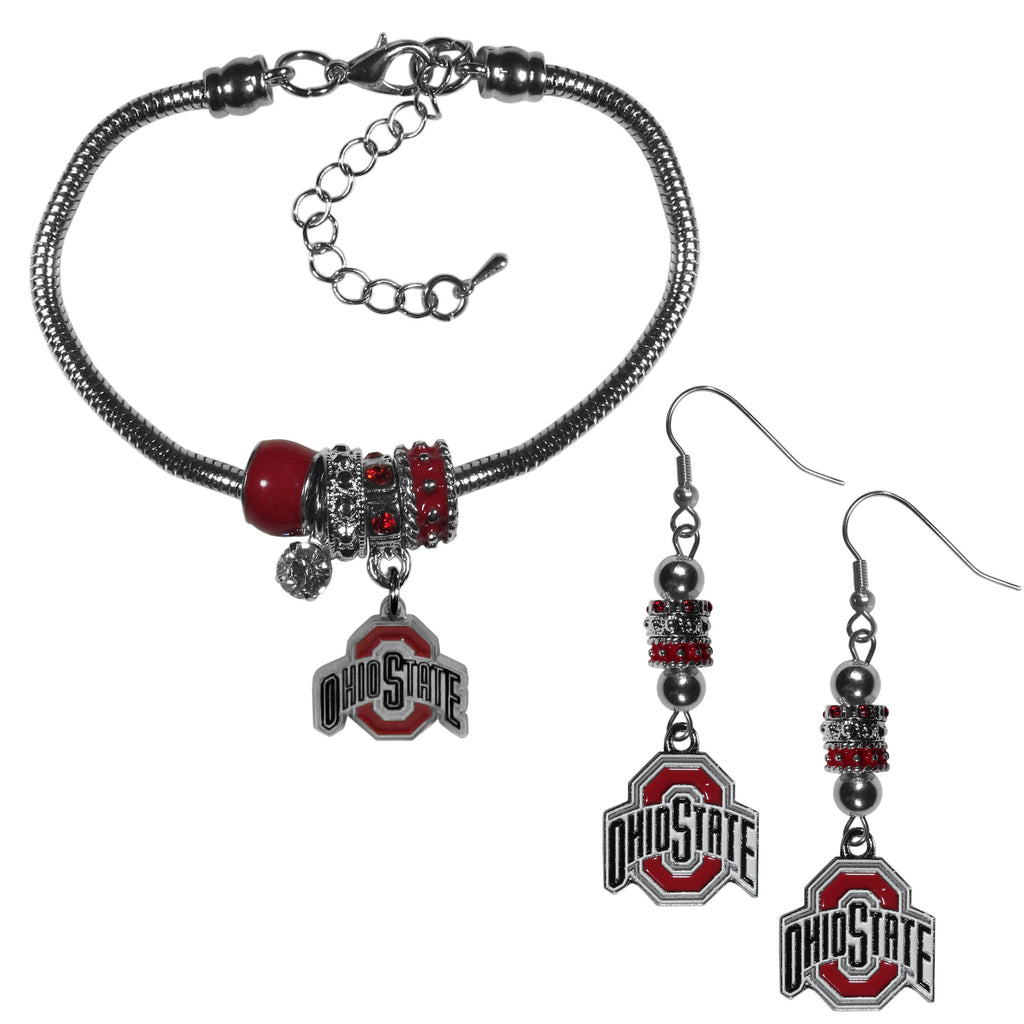 Ohio St. Buckeyes Euro Bead Earrings and Bracelet Set