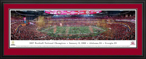 "Alabama   2017 College Football National Champion Double Mat, Deluxe Framed Panoramic Print 18"" L x 44"" W"