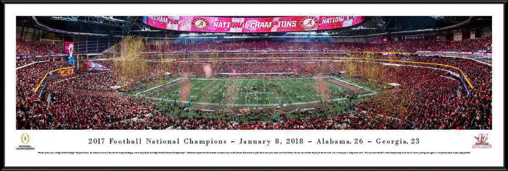 "Alabama   2017 College Football National Champion Standard Framed Panoramic Print 13.75"" L x 40.25"" W"