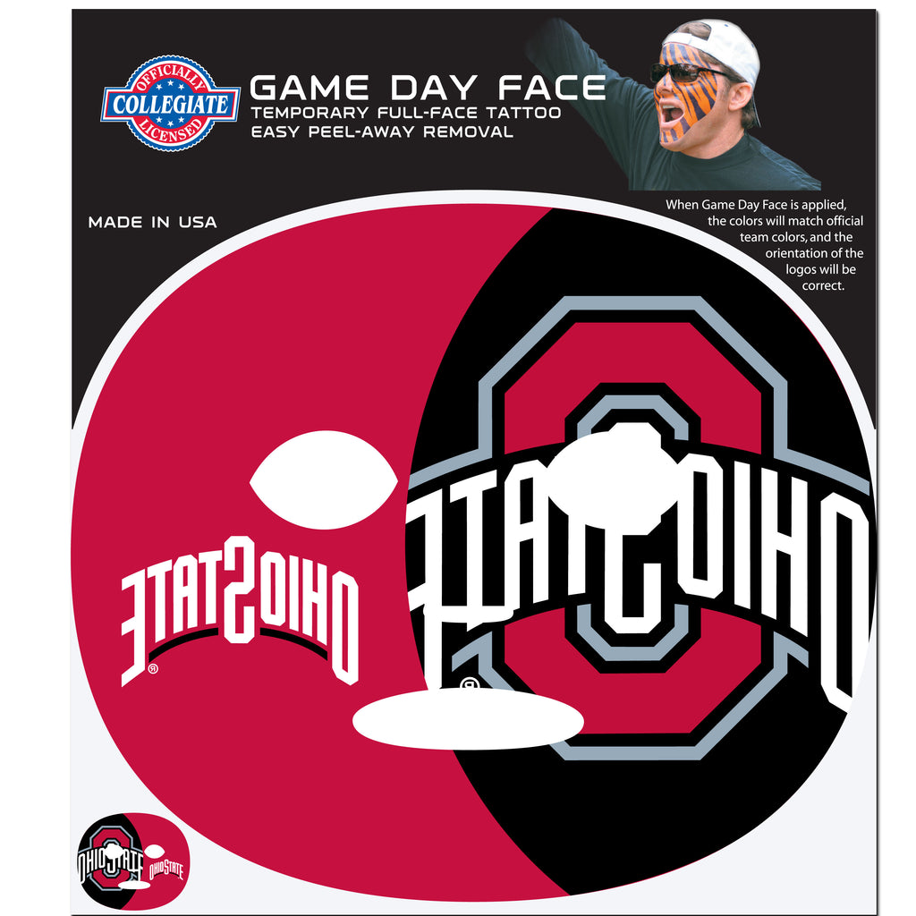 Ohio St. Buckeyes Game Face Temporary Tattoo