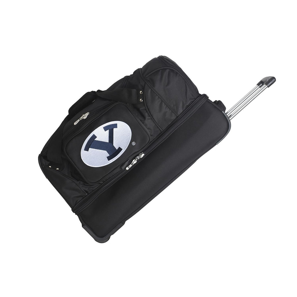 Brigham Young Cougars 27in Wheeled Duffel Nylon bag-BLACK
