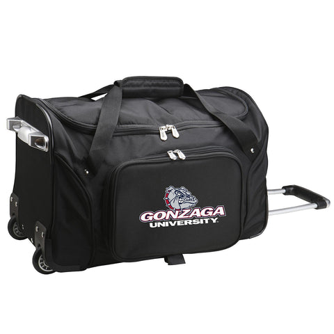 Gonzaga University Bulldogs 22in Wheeled Duffel Nylon Bag-BLACK