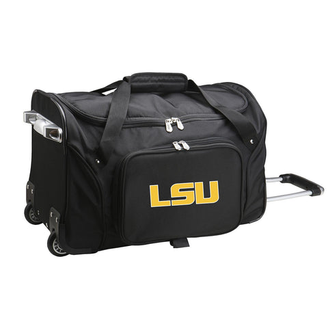 Louisiana Tigers 22in Wheeled Duffel Nylon Bag-BLACK
