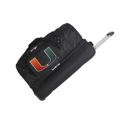 Miami Hurricanes 27in Wheeled Duffel Nylon bag-BLACK