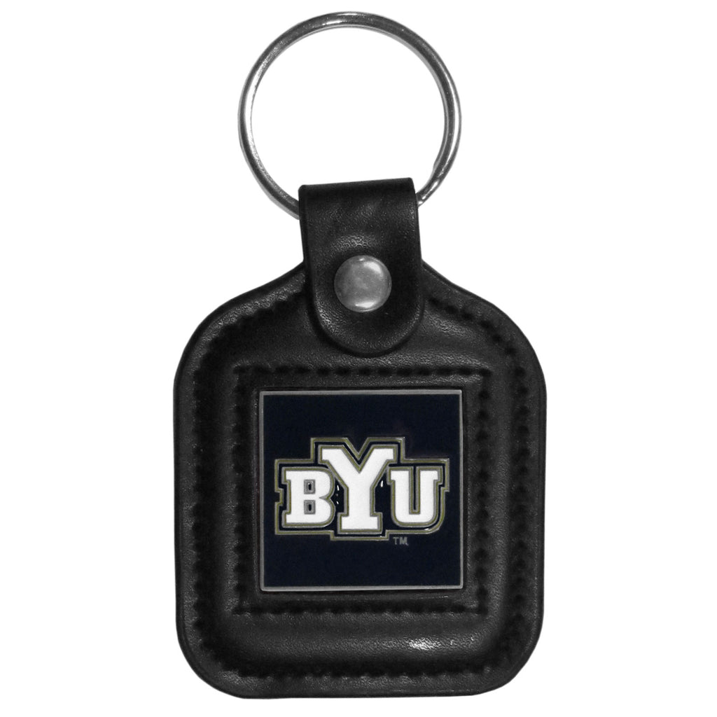 BYU Cougars Square Leather Key Chain