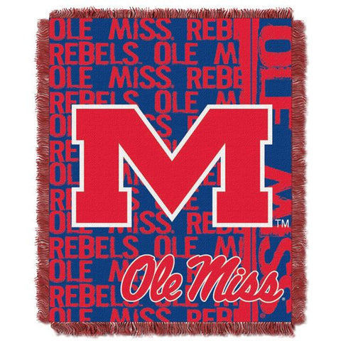 "Mississippi Rebels NCAA Double Play 46""x 60"" Triple Woven Jacquard Throw"