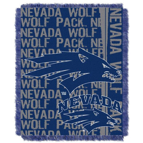 "Nevada Wolf Pack NCAA Double Play 46""x 60"" Triple Woven Jacquard Throw"