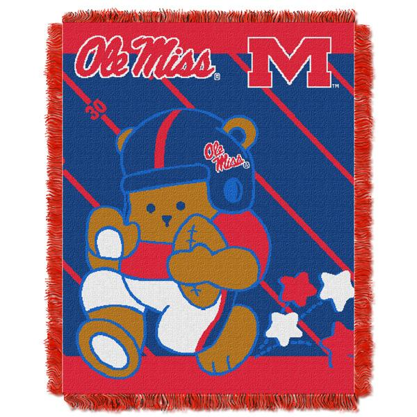 "Mississippi Rebels NCAA Half Court Baby 36""x 46"" Triple Woven Jacquard Throw"