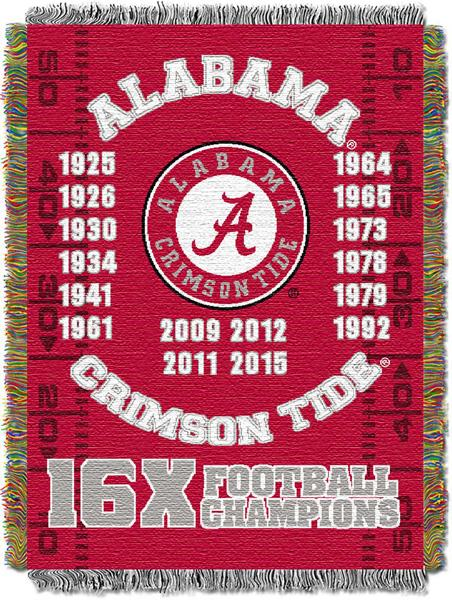 "Alabama Crimson Tide NCAA Commemorative 48""x 60"" Woven Tapestry Throw"