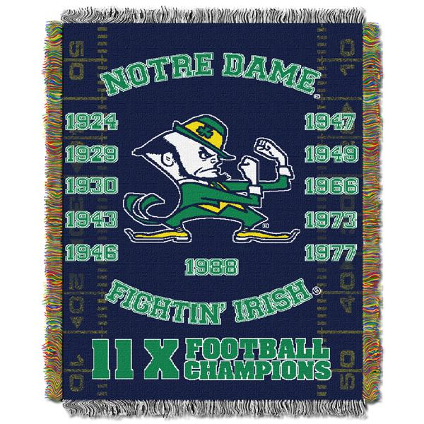 "Notre Dame Fighting Irish NCAA Commemorative 48""x 60"" Woven Tapestry Throw"