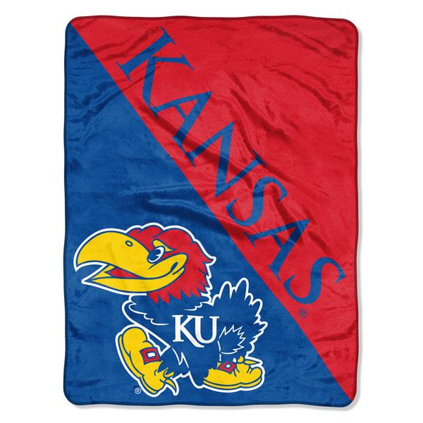 Kansas Jayhawks NCAA Halftone 46 x 60  Micro Raschel Throw
