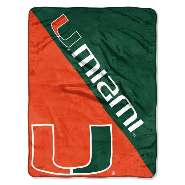 Miami Hurricanes NCAA Halftone 46 x 60  Micro Raschel Throw