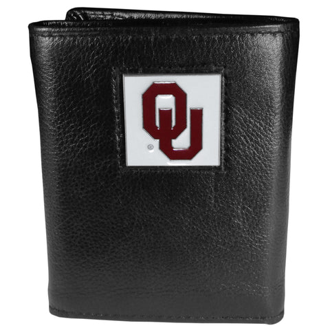 Oklahoma Sooners   Deluxe Leather Tri fold Wallet Packaged in Gift Box