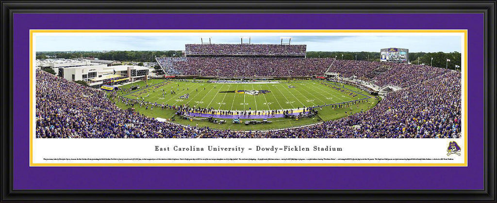 "East Carolina Pirates Football Double Mat, Deluxe Framed Panoramic Print 18"" L x 44"" W"