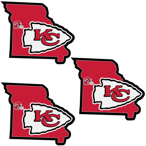 Kansas City Chiefs   Home State Decal 3pk