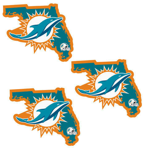 Miami Dolphins   Home State Decal 3pk