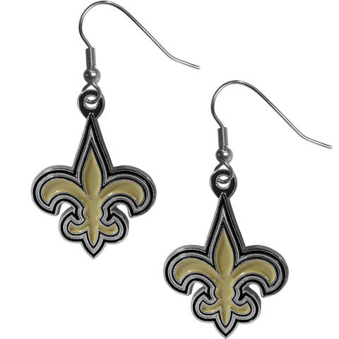 New Orleans Saints   Chrome Dangle Earrings