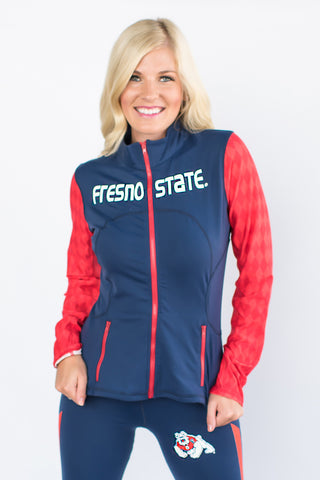 Fresno State Bulldogs Womens Yoga Jacket (Navy Blue)