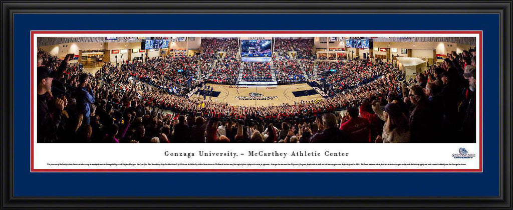 "Gonzaga Bulldogs Basketball Double Mat, Deluxe Framed Panoramic Print 18"" L x 44"" W"