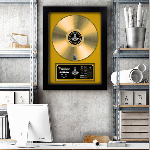 NHL Pittsburgh Penguins 2017 Stanley Cup Champions Vinyl Gold Record