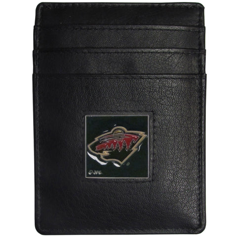 Minnesota Wild   Leather Money Clip/Cardholder Packaged in Gift Box