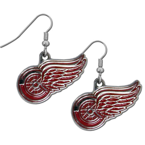 Detroit Red Wings   Chrome Dangle Earrings