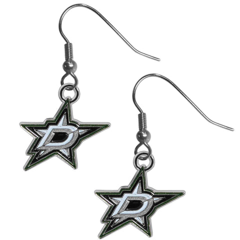Dallas Stars   Chrome Dangle Earrings