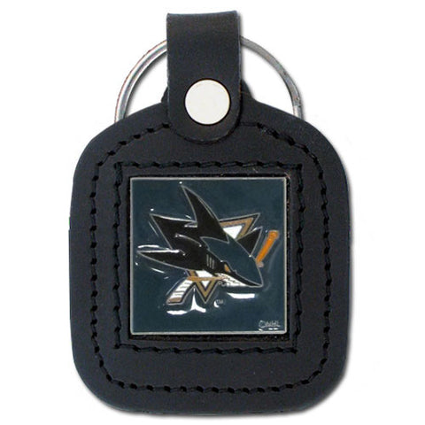 San Jose Sharks   Square Leatherette Key Chain