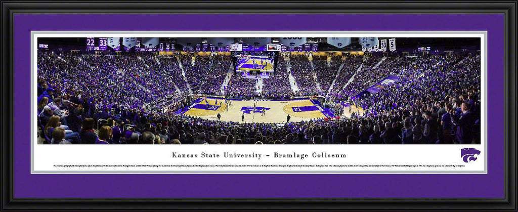 "Kansas State Basketball Double Mat, Deluxe Framed Panoramic Print 18"" L x 44"" W"